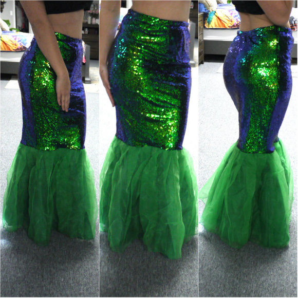 dbfb05fe L'Amour Le Allure Skirts | Green High Waisted Sequin Mermaid Skirt ...